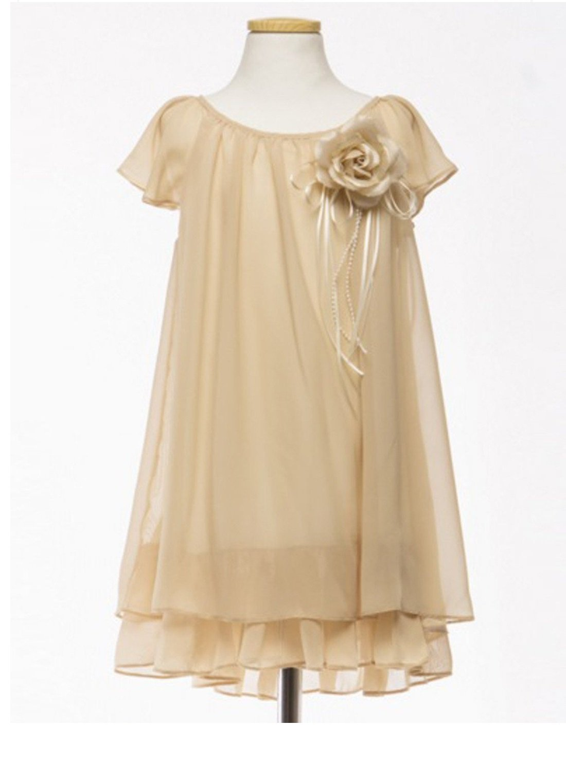 Flower Girl Dress Two Layered Chiffon Pleated Girls Dress Champagne Party Dress Special Occasion Dress