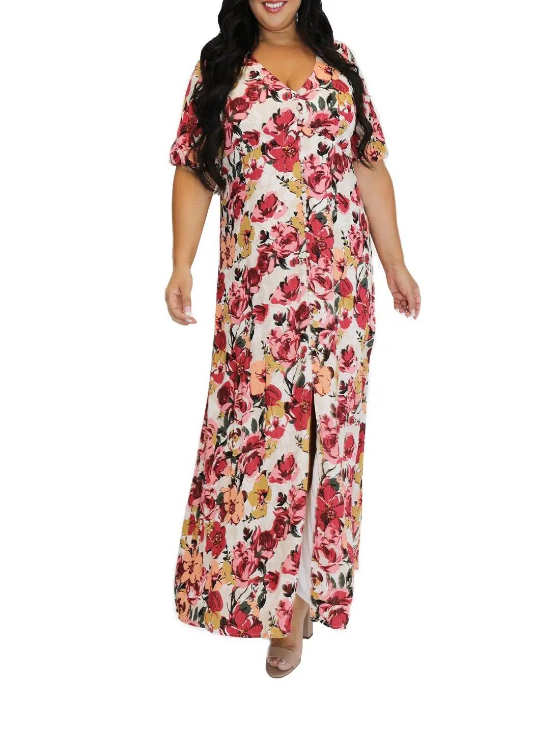 Plus Size Floral Metallic Stripe Peasant Bodice Dress