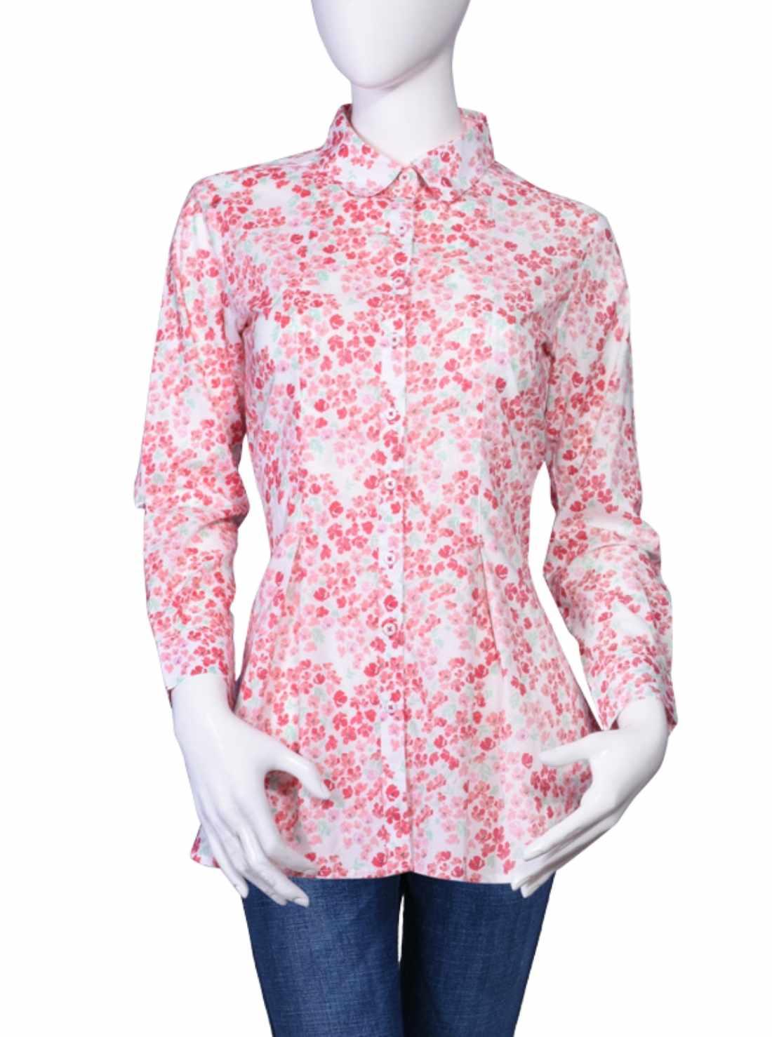 Teenage dress western tops pink printed