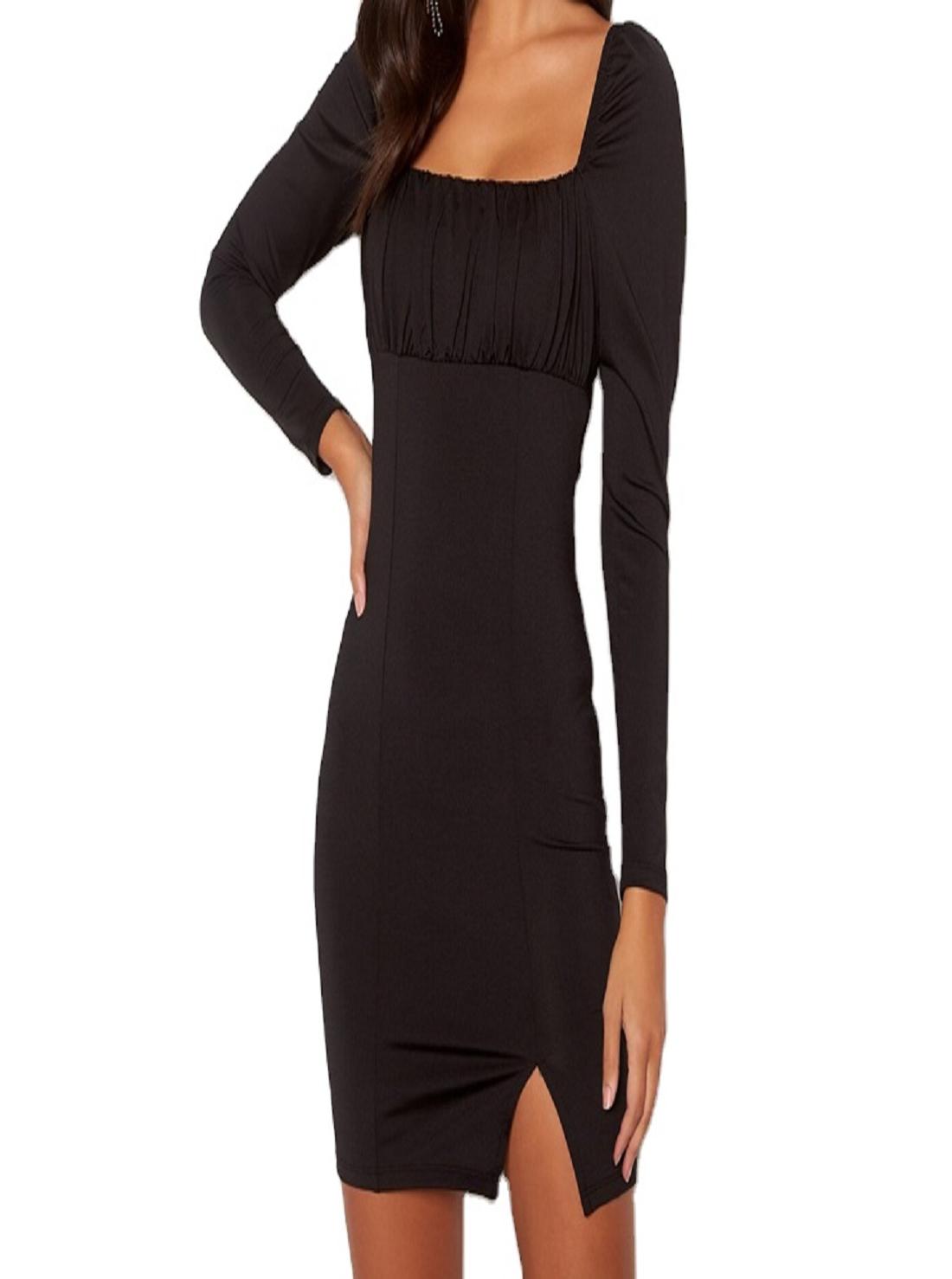 Wholesale Square-Neck Black Dress