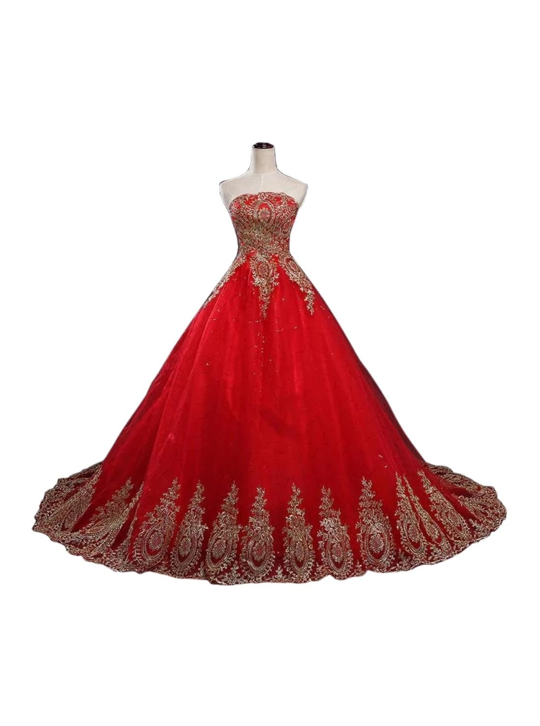 Tulle Red China Ball Gown Wedding Dress