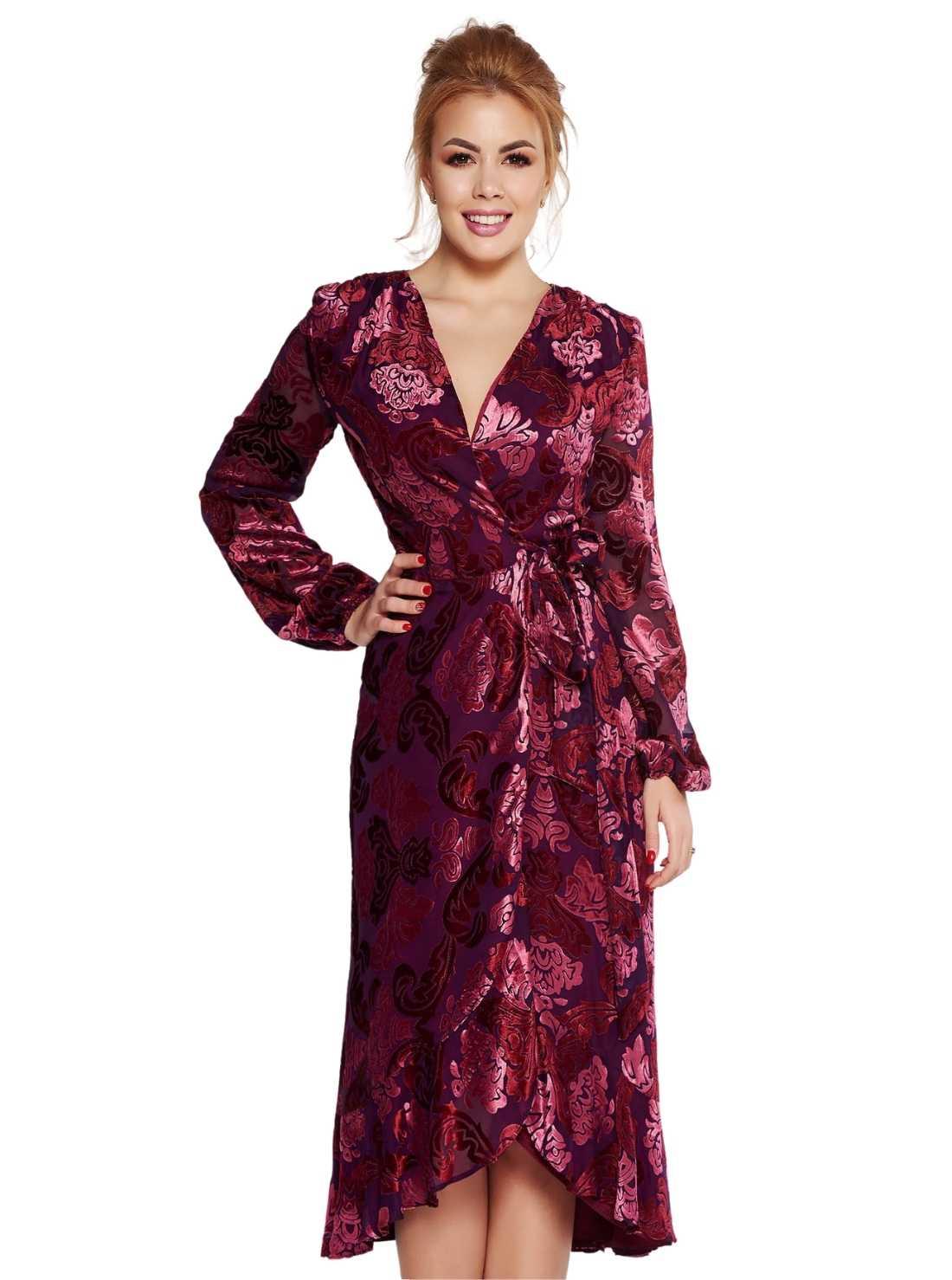 Elegant wrap around dress velvet fabric
