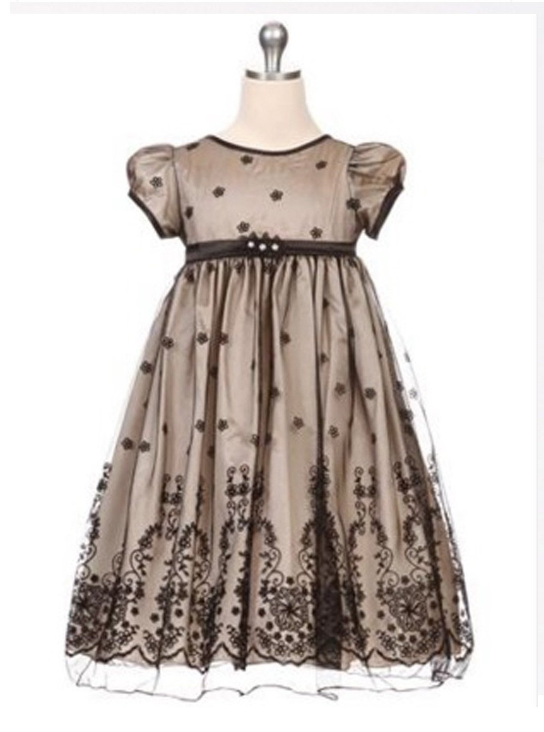 Flower Girl Dress Taffeta and Floral Embroidered Tulle Overlay DressCham Party Dress Special Occasion Dress