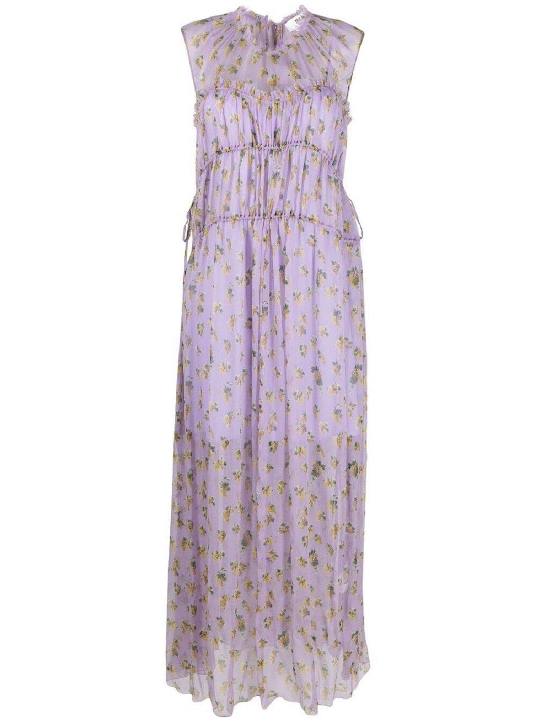 Grape-print silk dress
