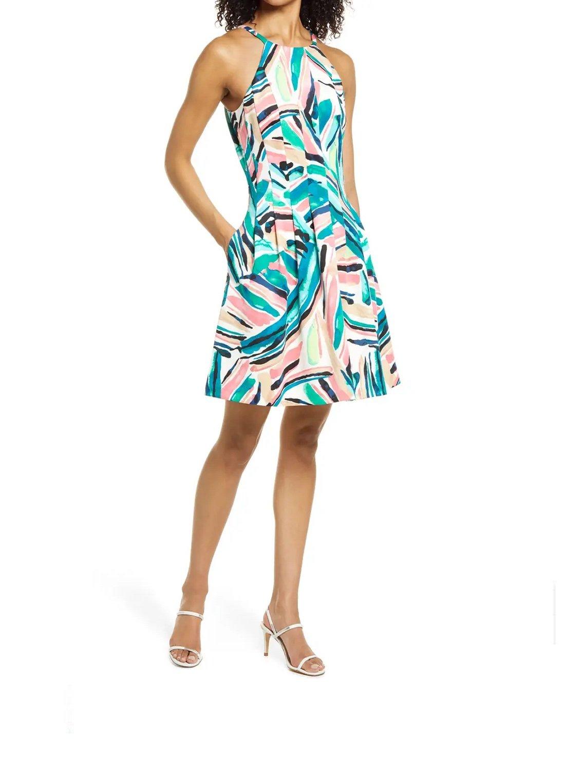 Sleeveless Scuba Fit & Flare Dress