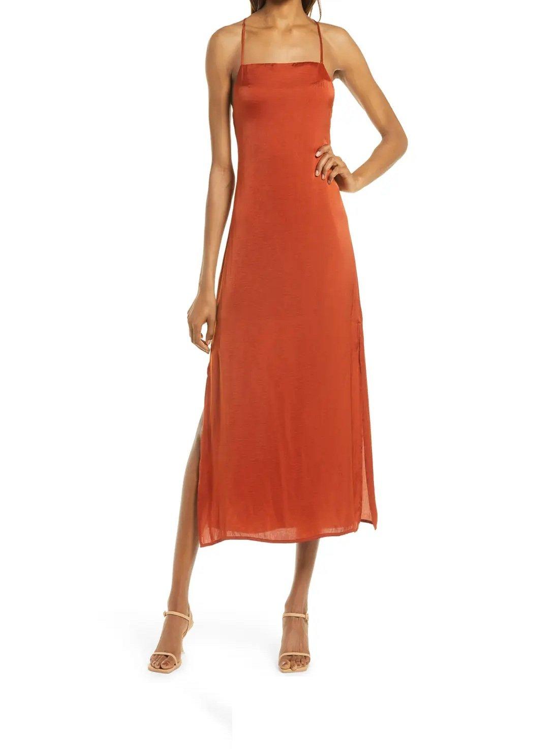 Tie Back Satin Evening Midi Dress