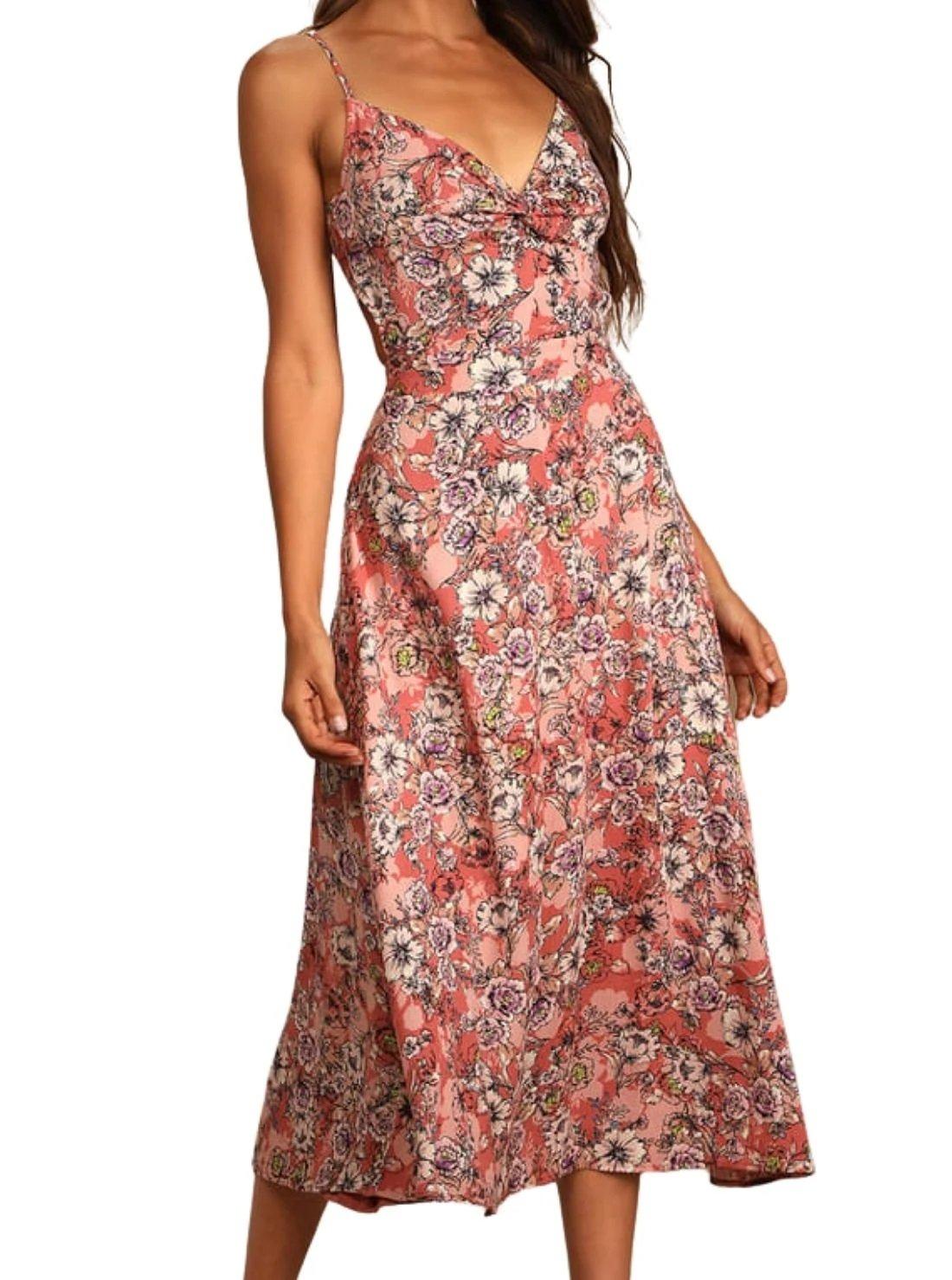 Rose Pink Floral Tie-Back Summer Midi Dress