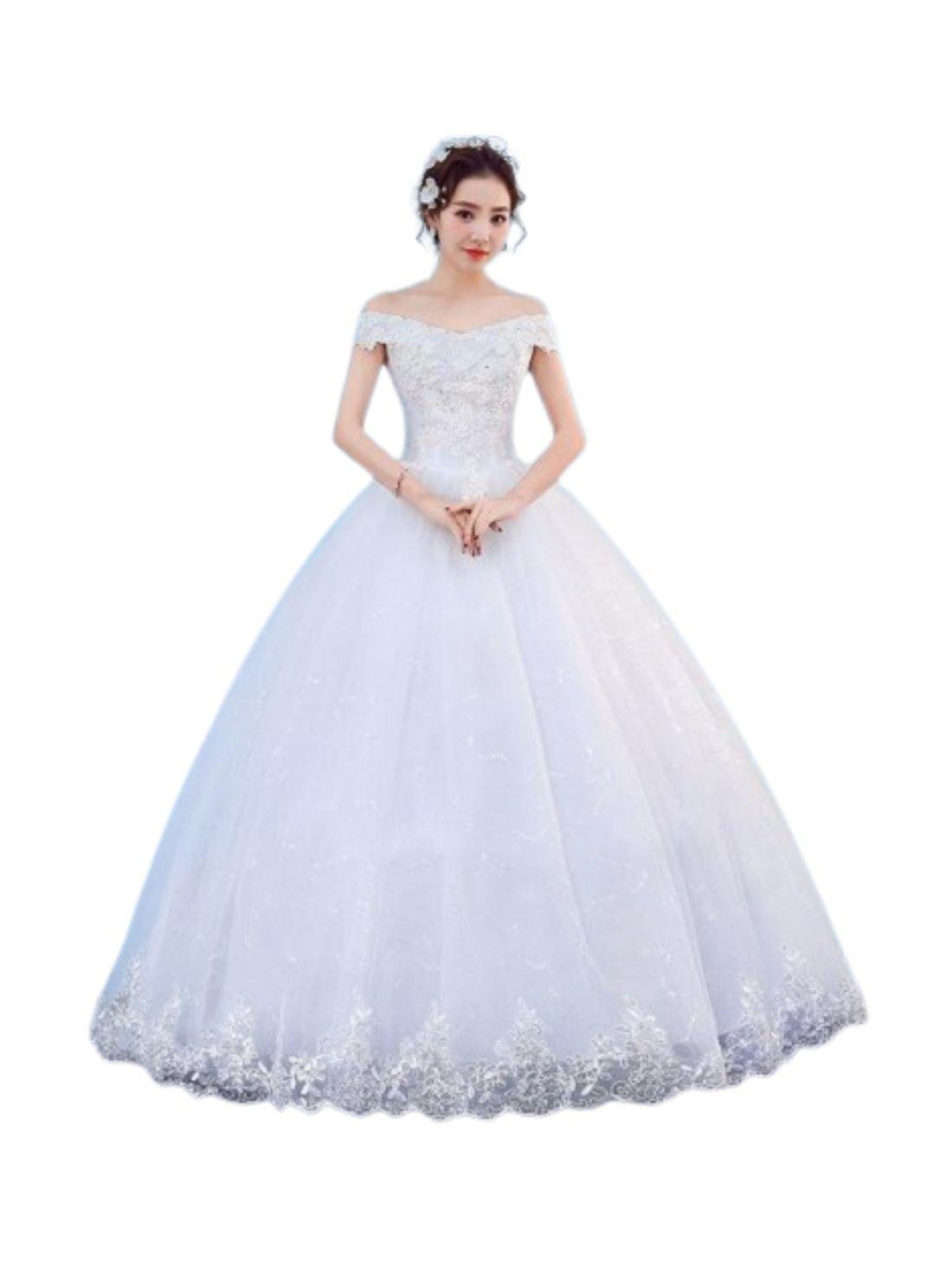 White Boat Neck China Ball Dress