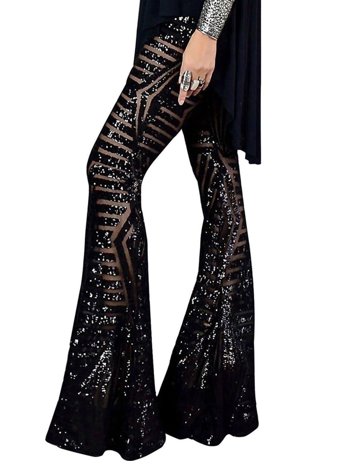 Women's Sequin Wide Leg Flare Pants