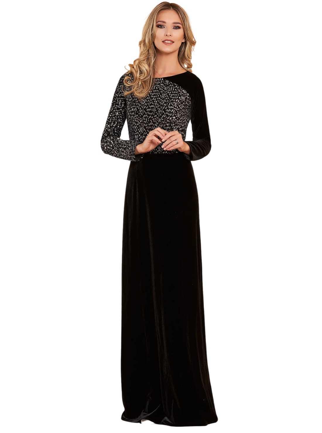 Black occasional Long cloche dress velvet sequin