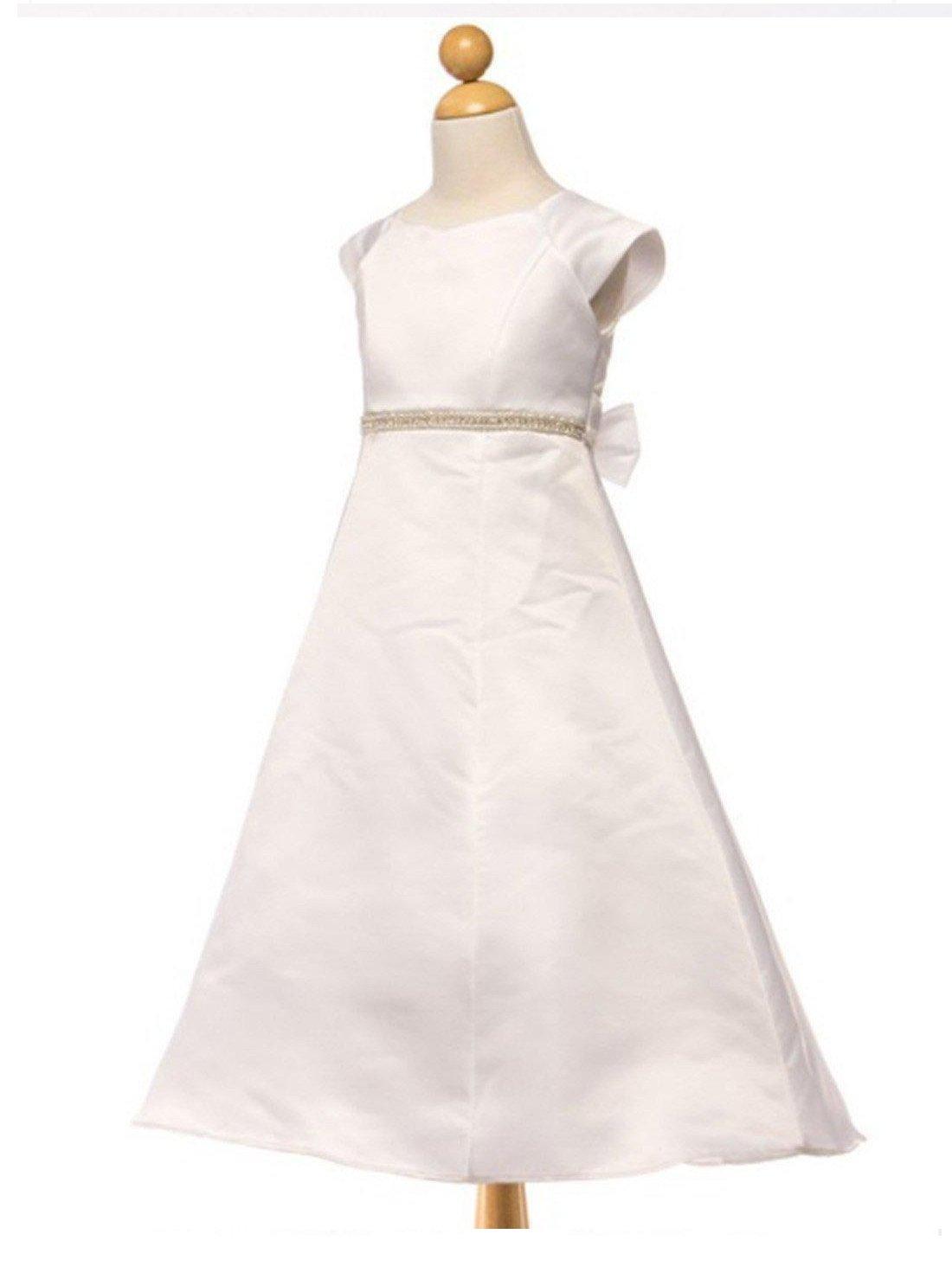 Flower Girl Dress Satin A Line Dress with Beaded Waist belt Party Dress Special Occasion Dress