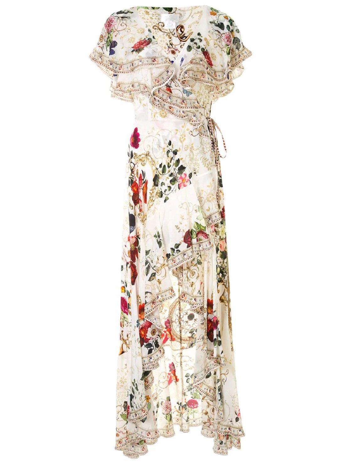 Frilled asymmetric silk dress