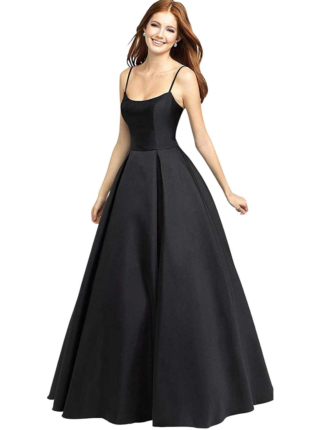 Square Neck Prom Dress Long Satin A-Line Evening Party Formal Ball Gown Two Pockets