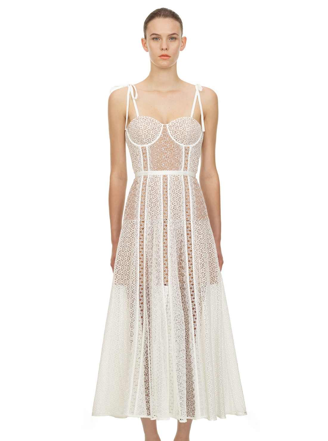 White Lace Panel Corset Midi Dress