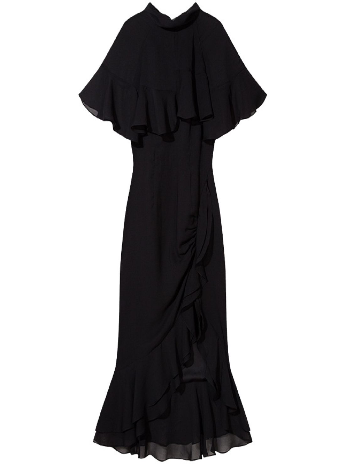 Wholesale Stand-up Collar Black Dress