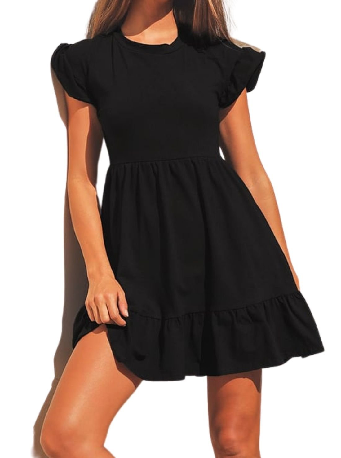 Sweetest Style Black Tiered Babydoll Dress