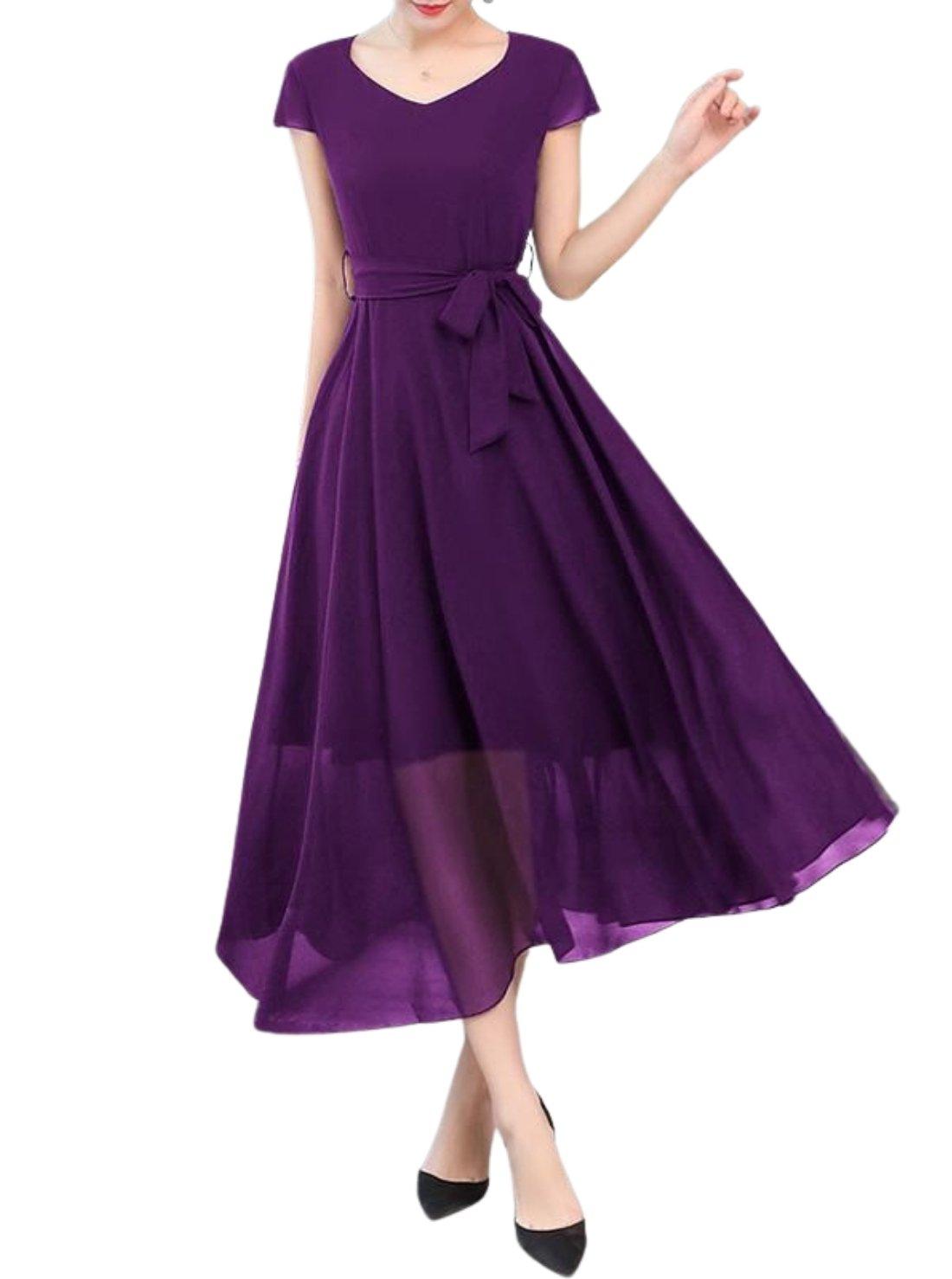 Wholesale Short Sleeve Chiffon Dress