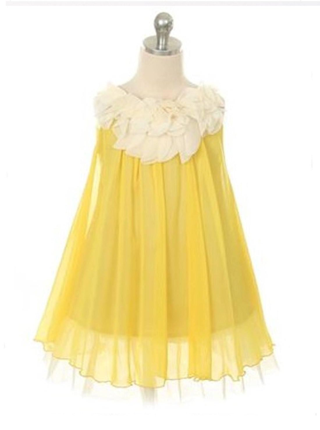 Flower Girl Dress Chic Chiffon Girl Dress With Ivory Flower NecklineYell Party Dress Special Occasion Dress