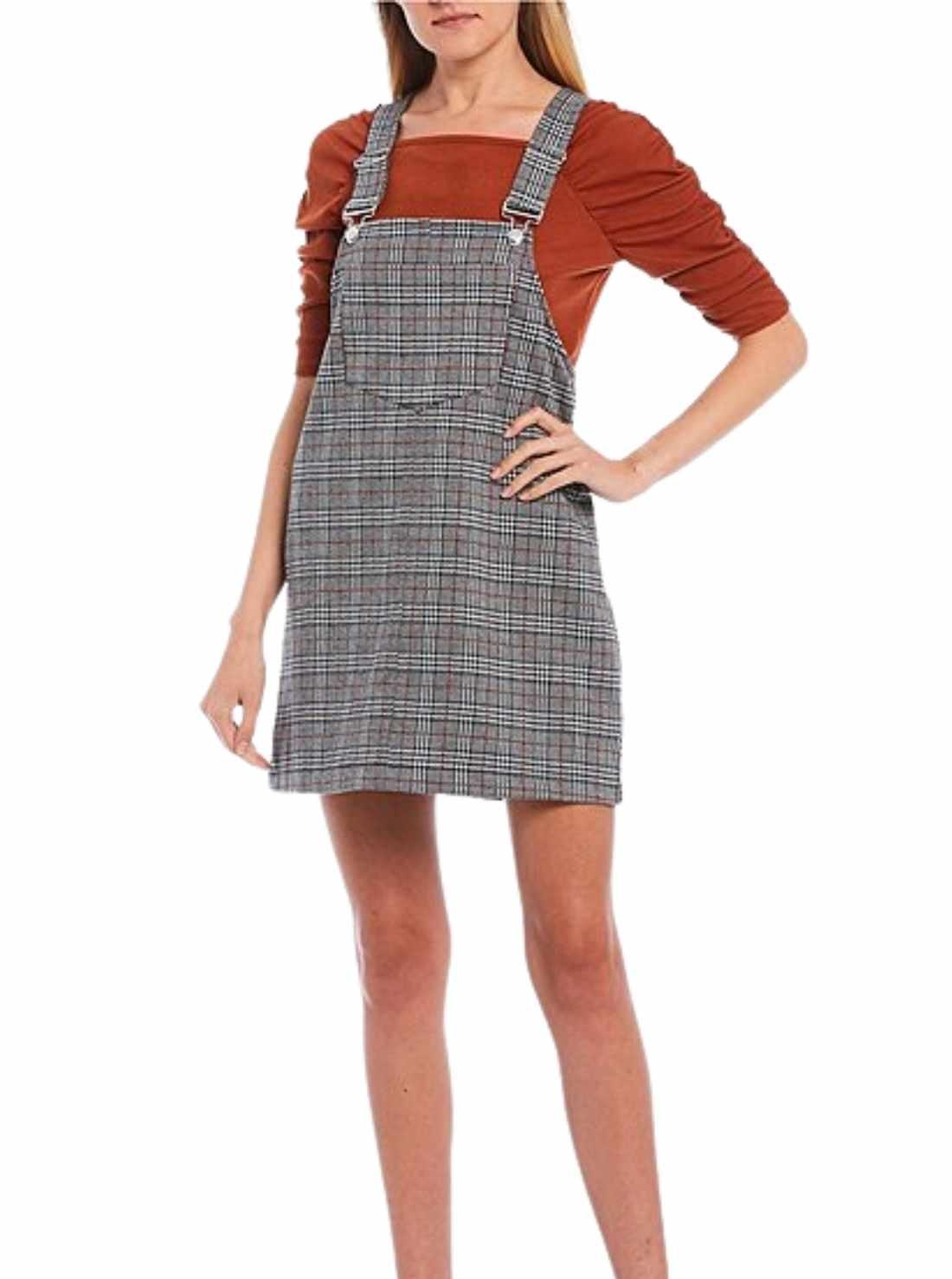 Sleeveless Plaid Print Jumper Dress