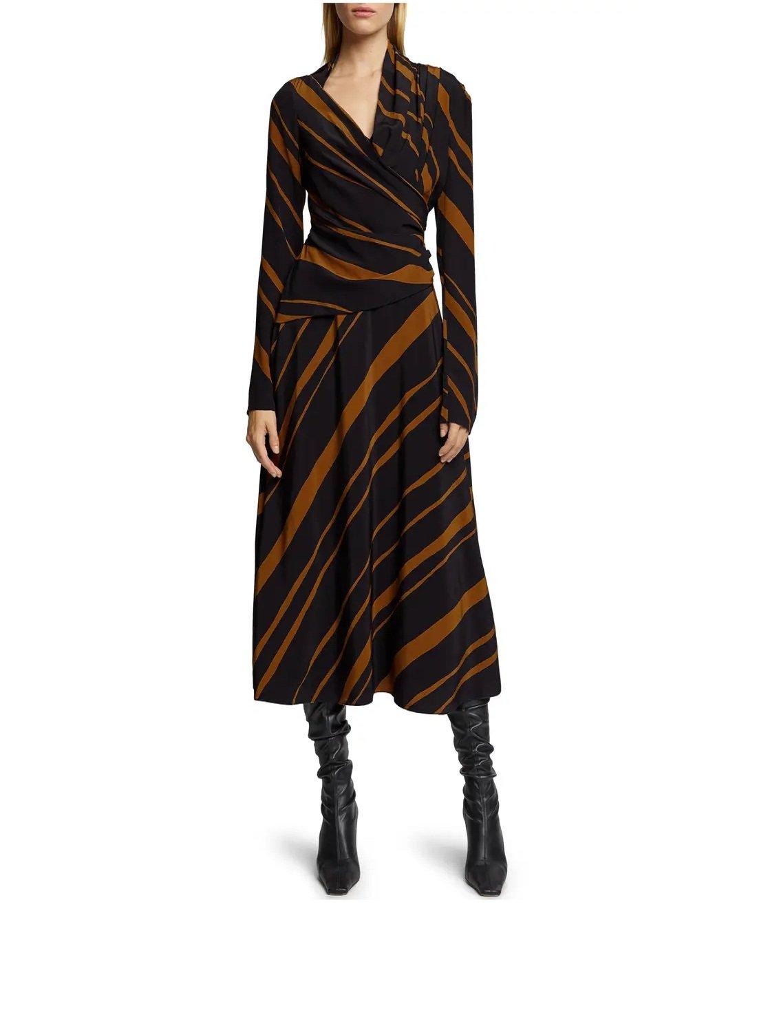 Stripe Twisted Long Sleeve Faux Wrap Midi Dress