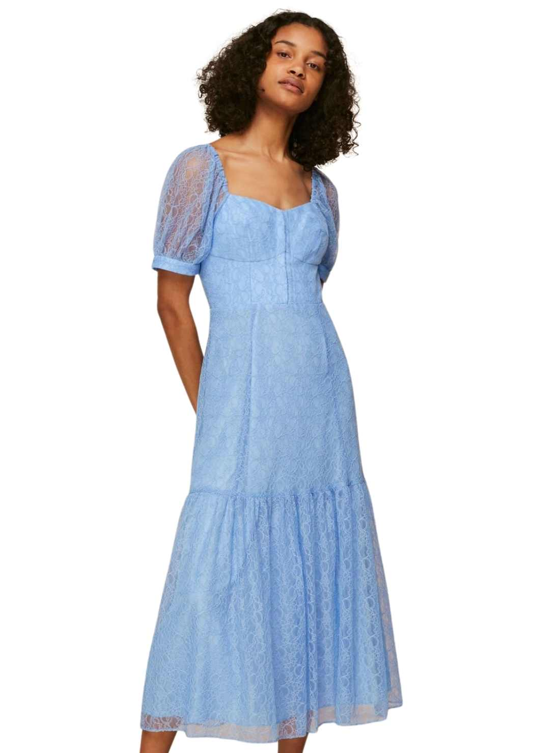 Whistles Lace Corset Dress Soft Shade Blue