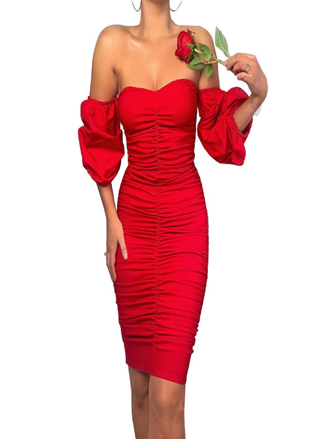 Wholesale Off-shoulder Red Dress
