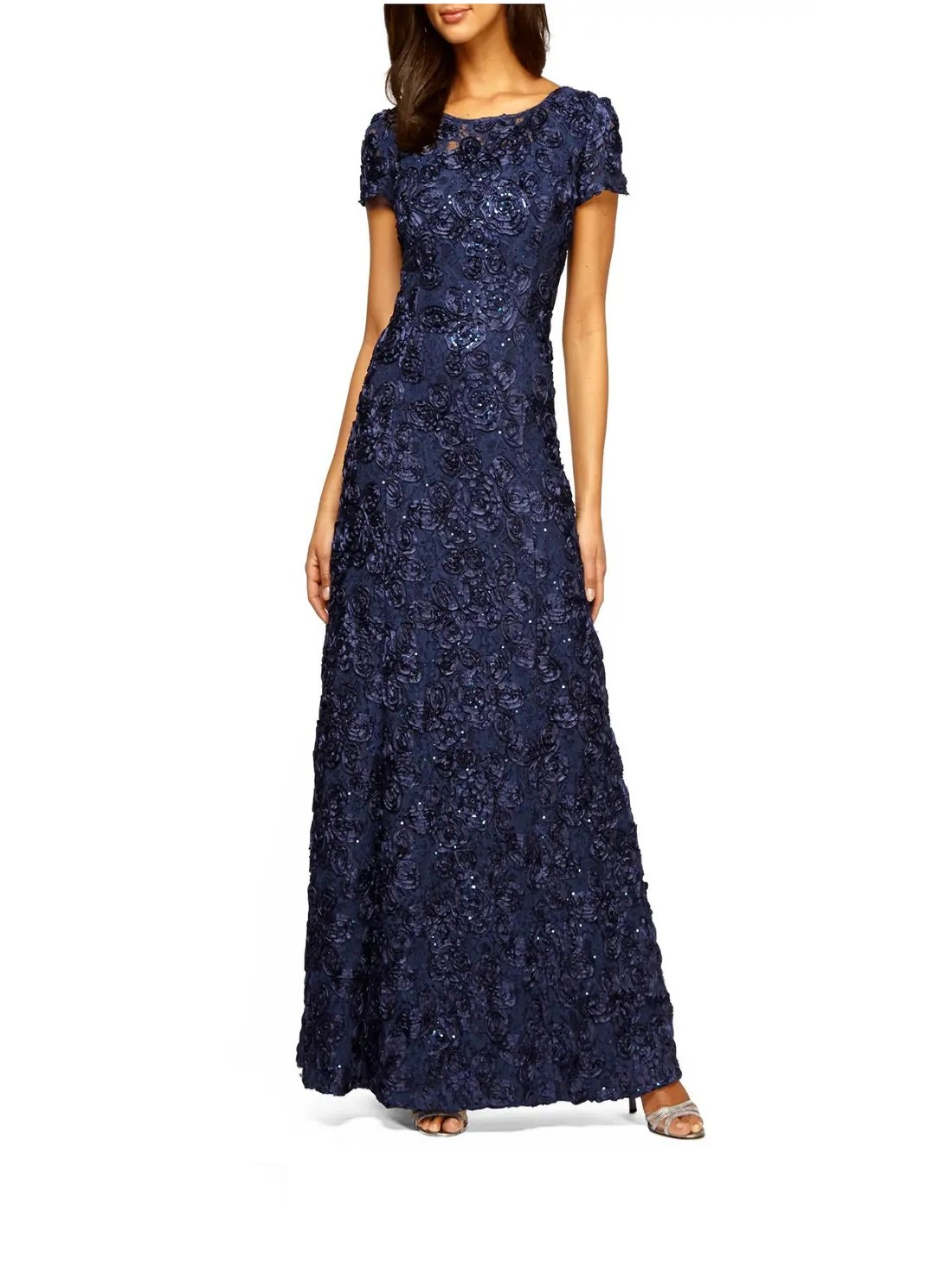 Embellished Lace A-Line Gown