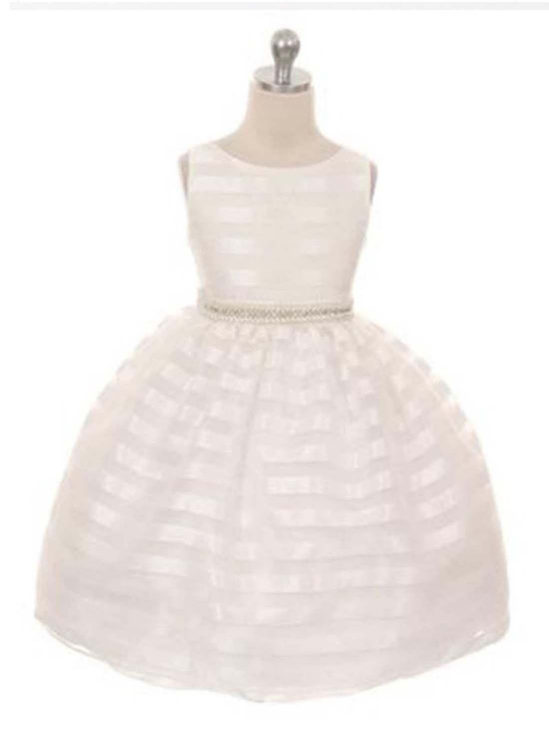 Flower Girl Dress Organza Striped Overlay Dress with Gem Belt Ivory Party Dress Special Occasion Dress