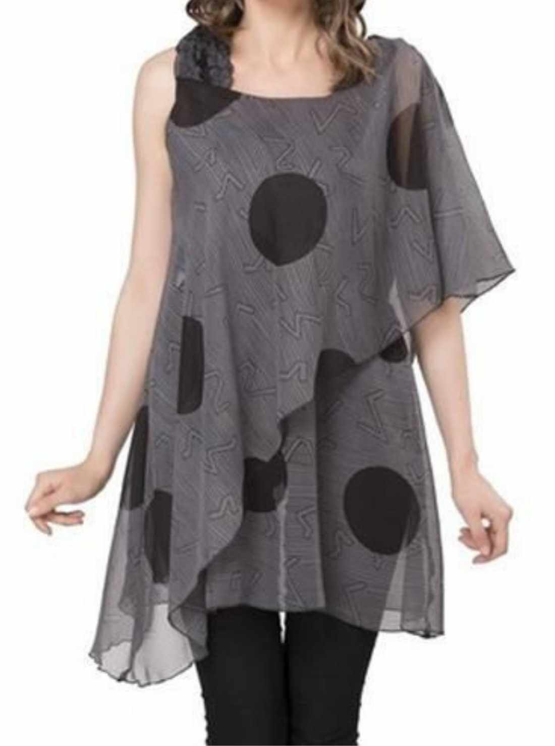 Front drape with beautiful printed patterns lades weatern tops