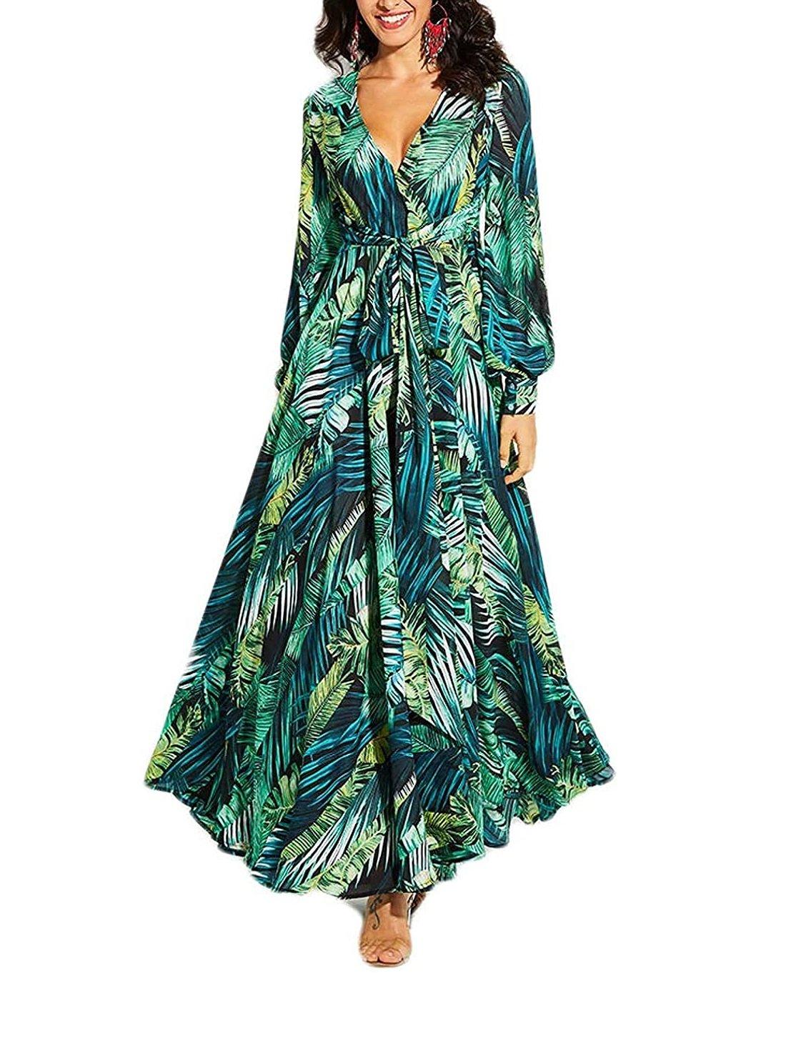 Maxi Dress Boho Chiffon Long Sleeve Dress