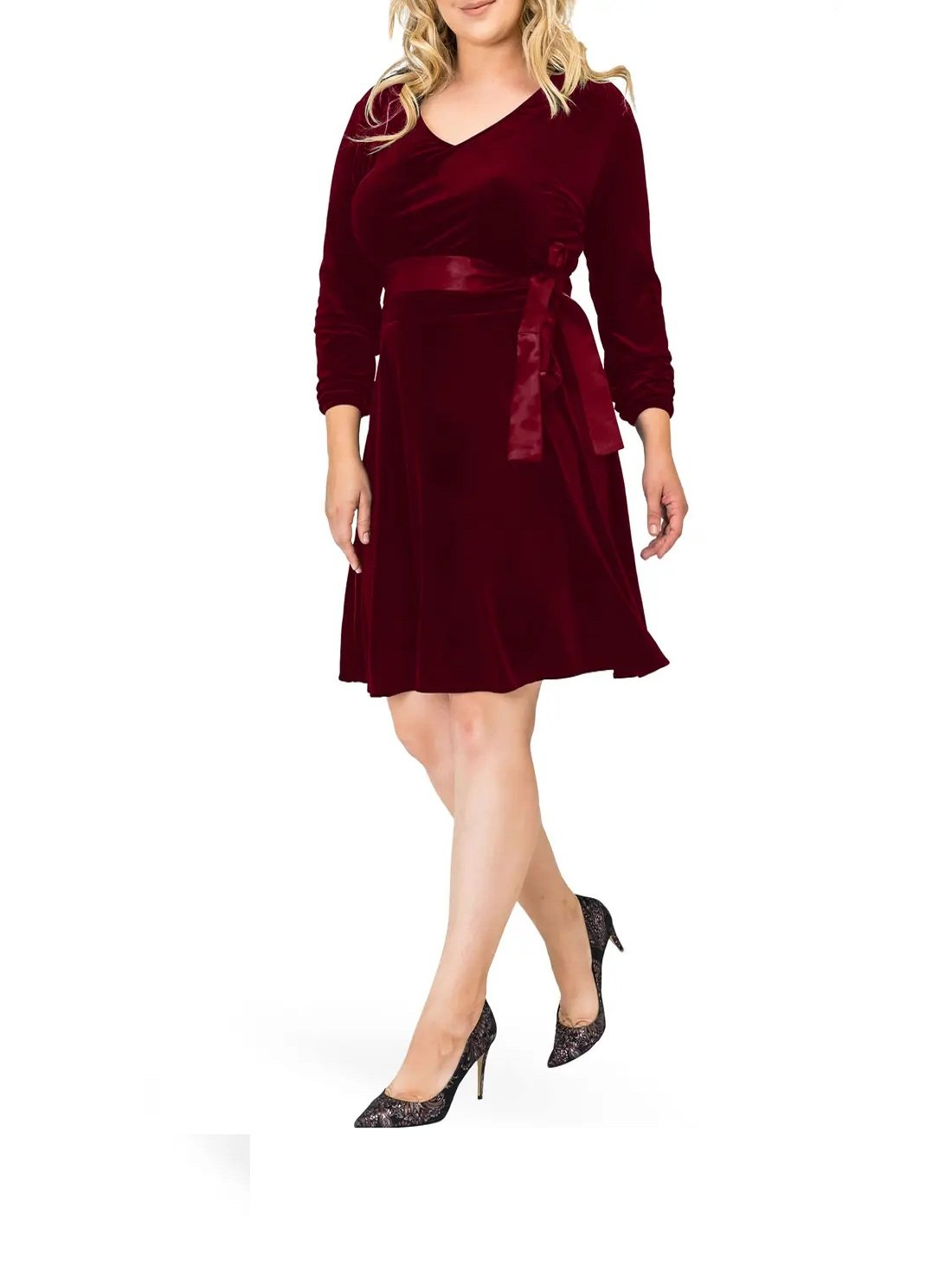 Plus Size V-Neck Stretch Velvet Fit & Flare Dress