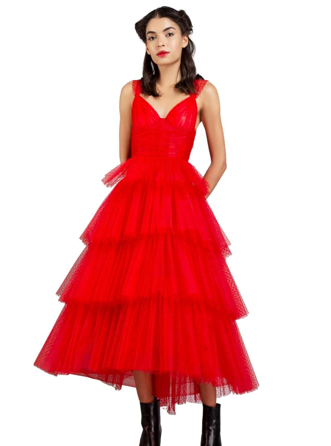 Red Layered Corset style Bodice Dress