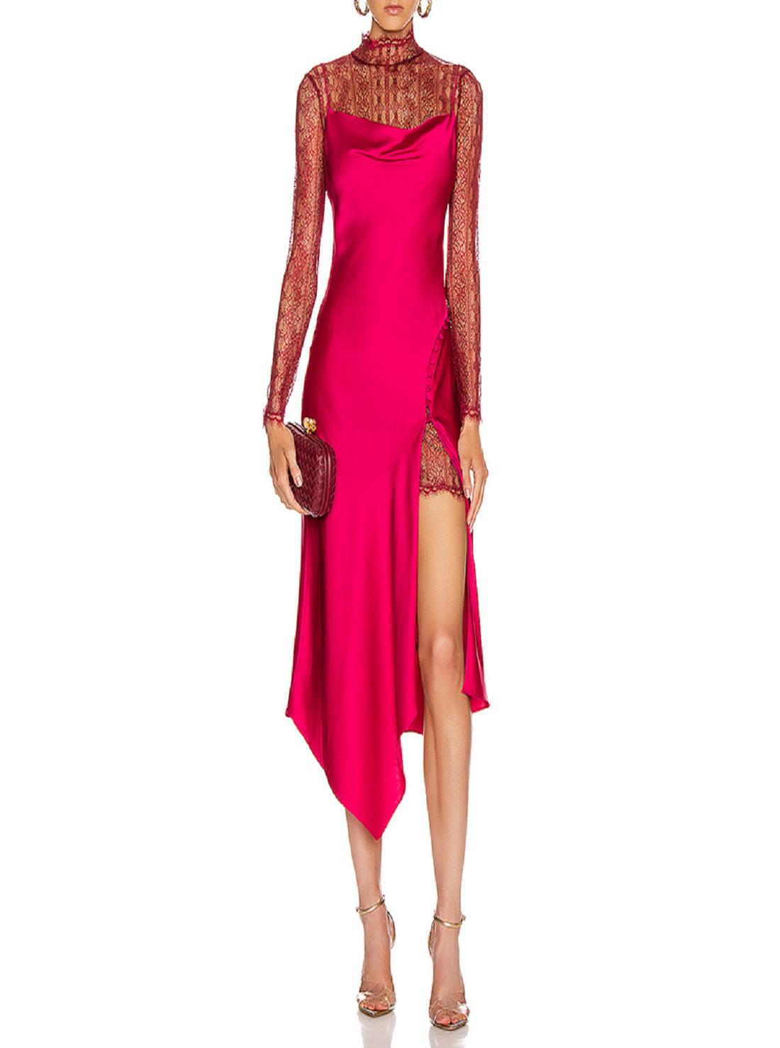 7 Wholesale Long Sleeve Satin Dress