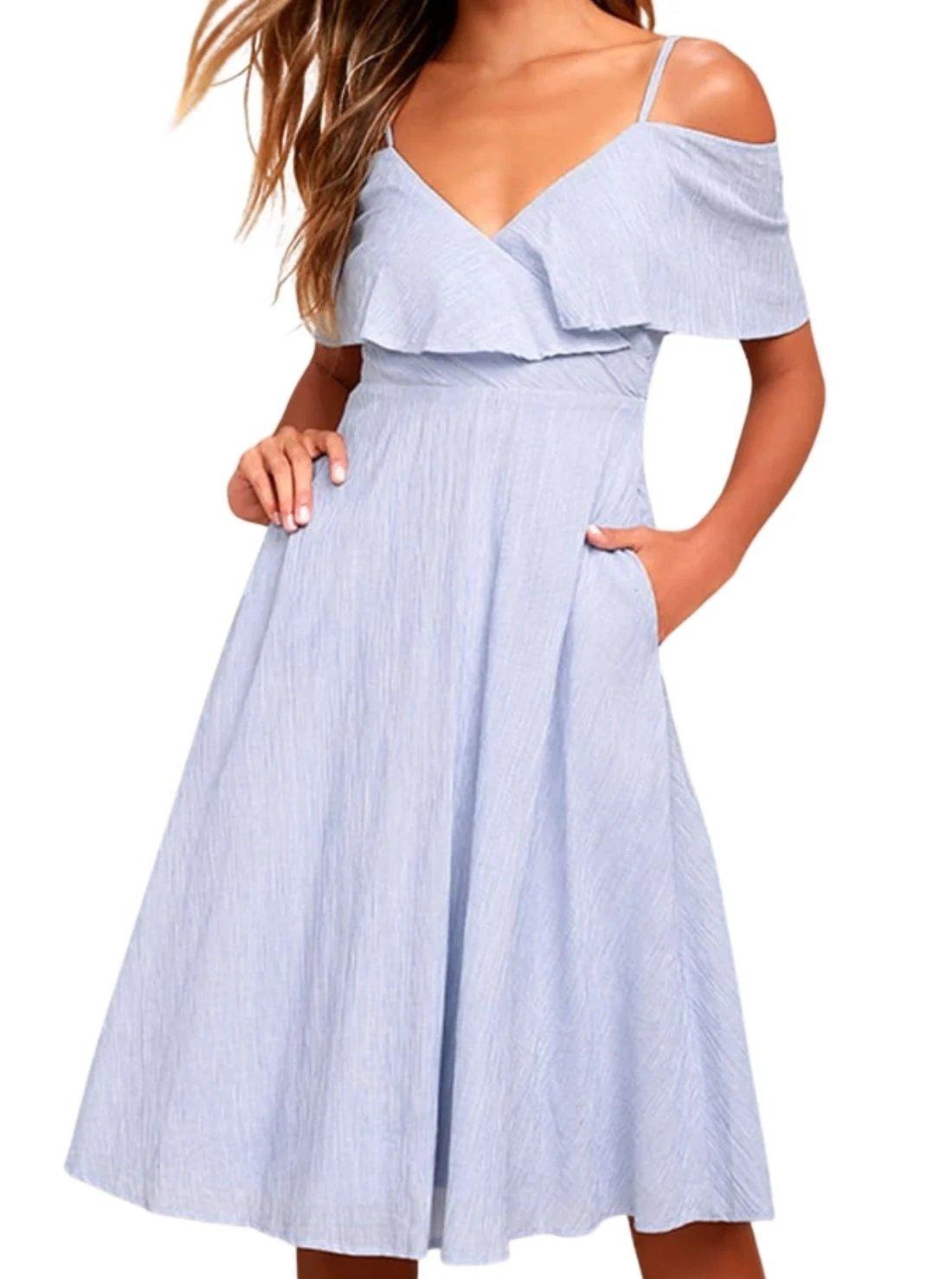 Striped Off-the-Shoulder Summer Midi Dress