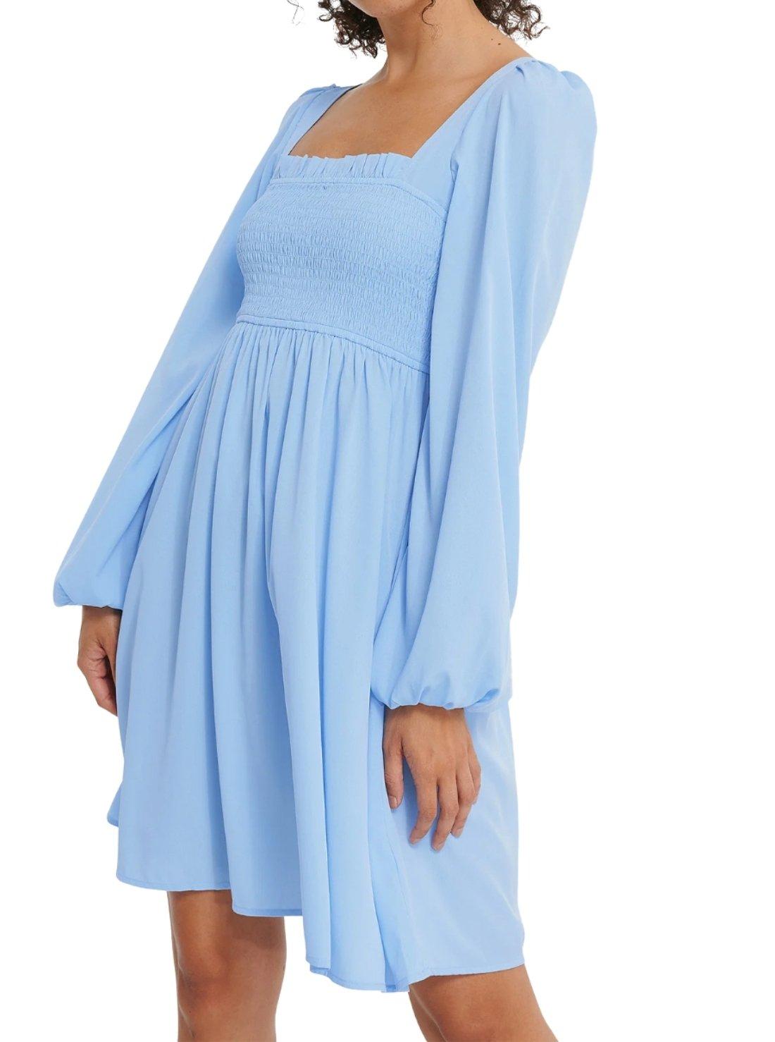 Wholesale Square Collar Chiffon Dress
