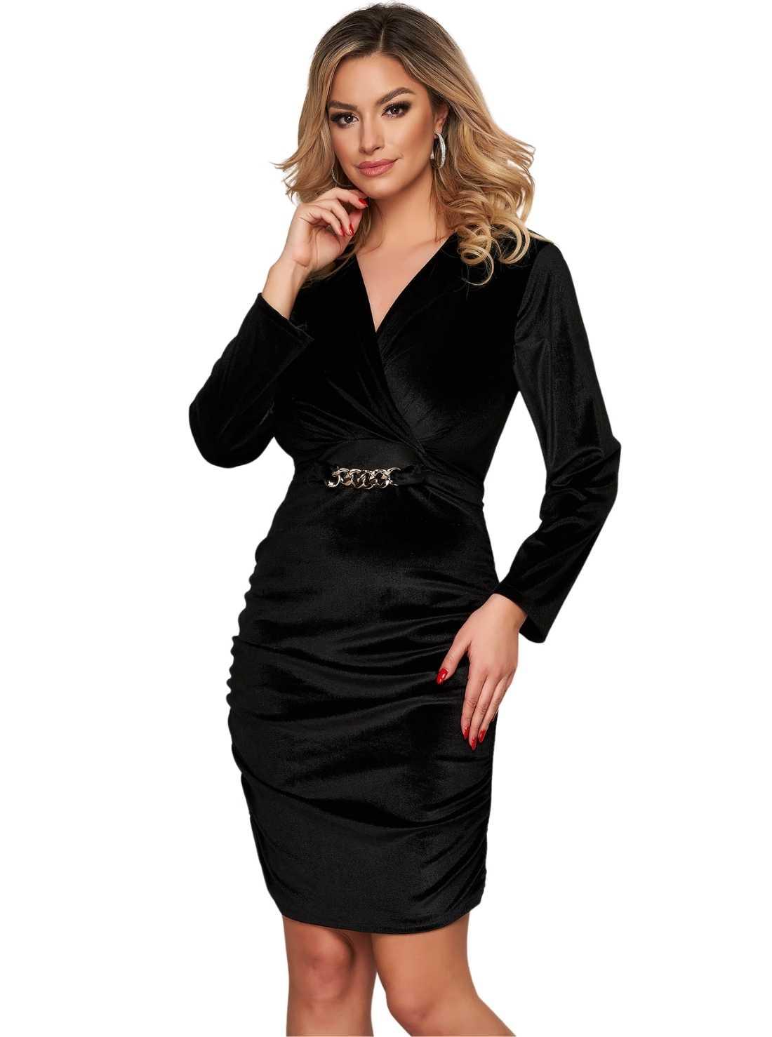 Black dress velvet occasional wrapover front metallic accessory