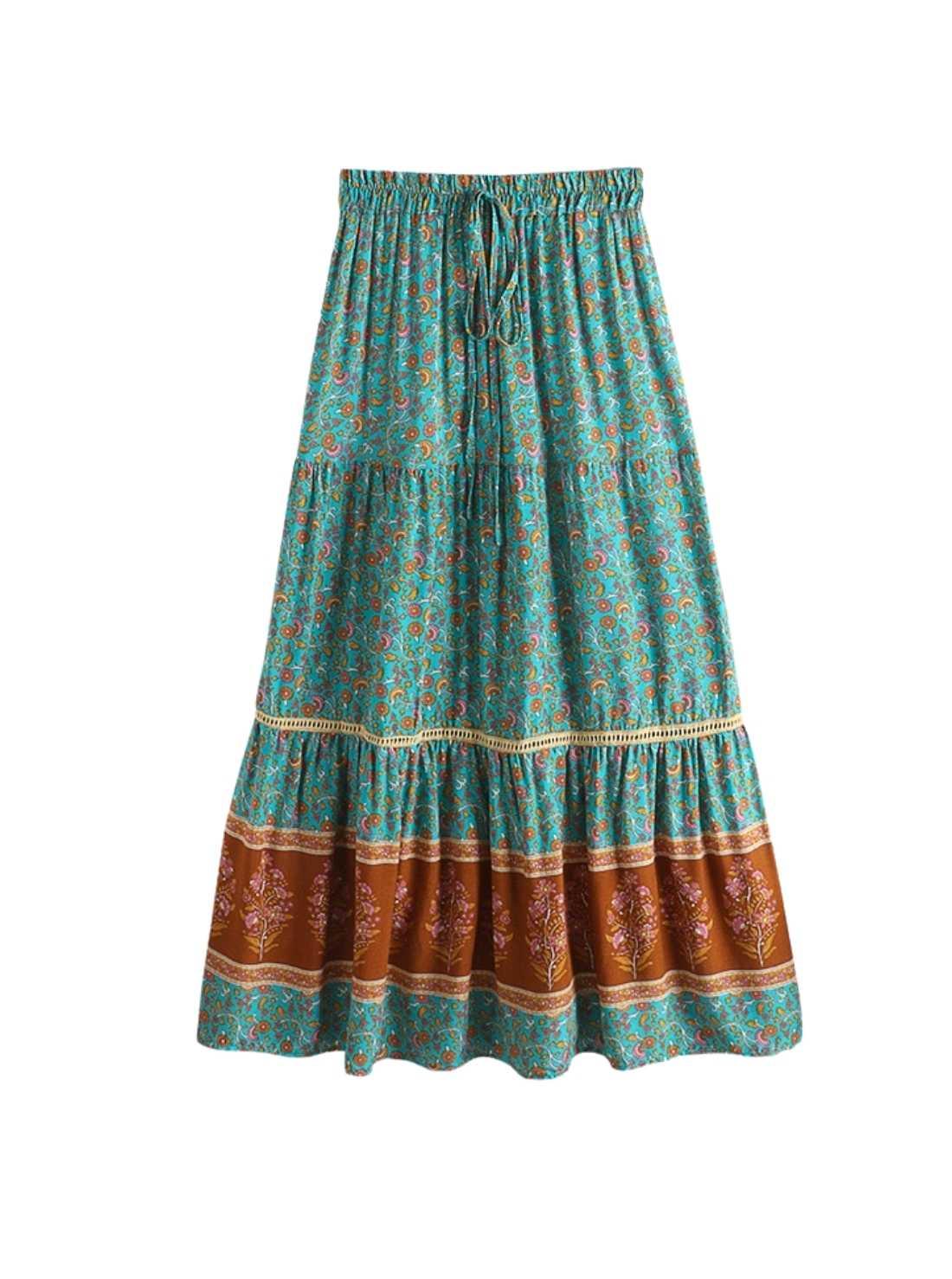 Floral print boho women skirt