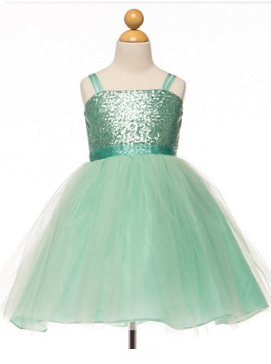 Flower Girl Dress Sequined Bodice and Tulle Overlay Skirt DressMint Party Dress Special Occasion Dress