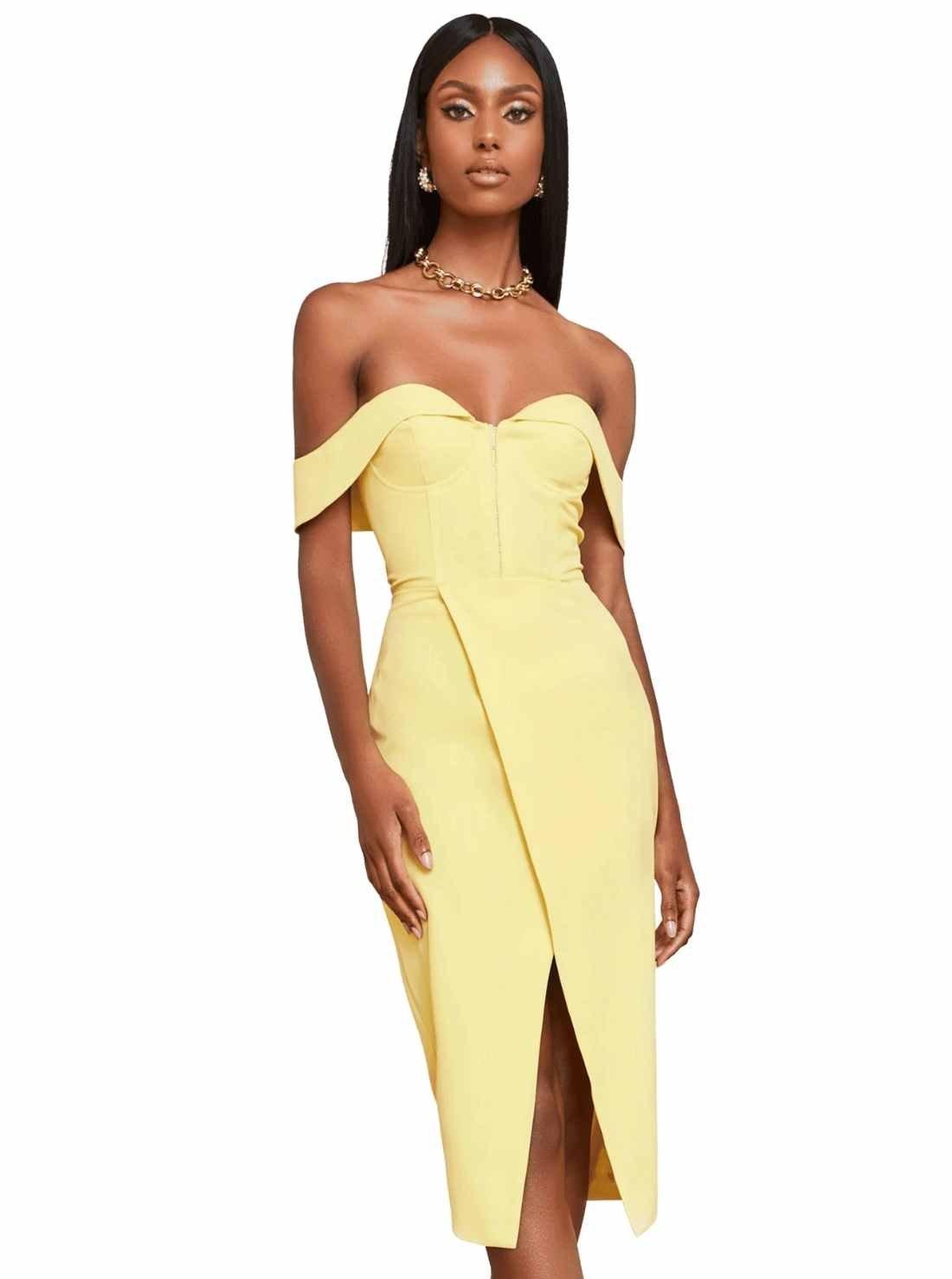 Lemon Yellow Corset Wrap Midi Dress