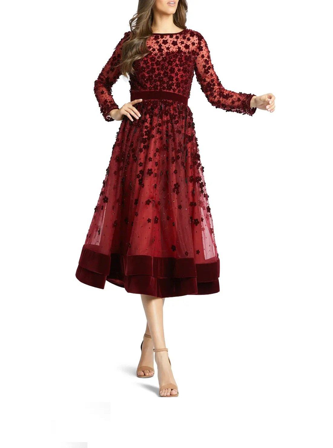 Long Sleeve Fit & Flare Velvet Embellished Cocktail Dress