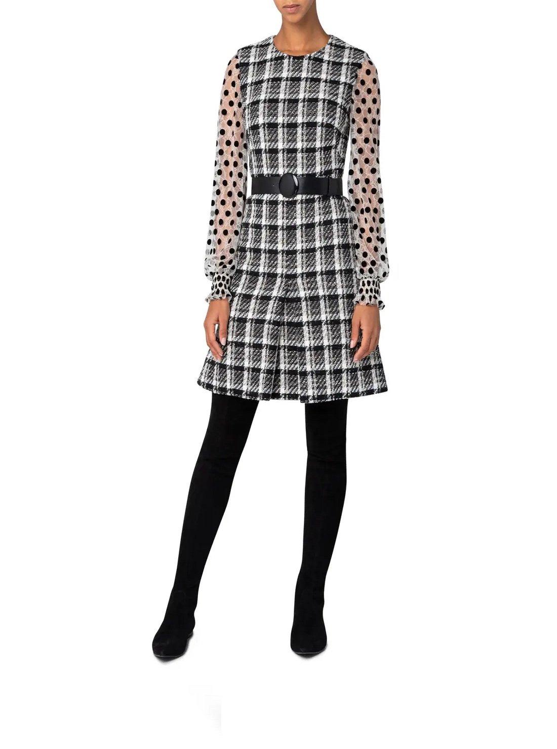 Long Sleeve Super Lightweight Tweed Dress