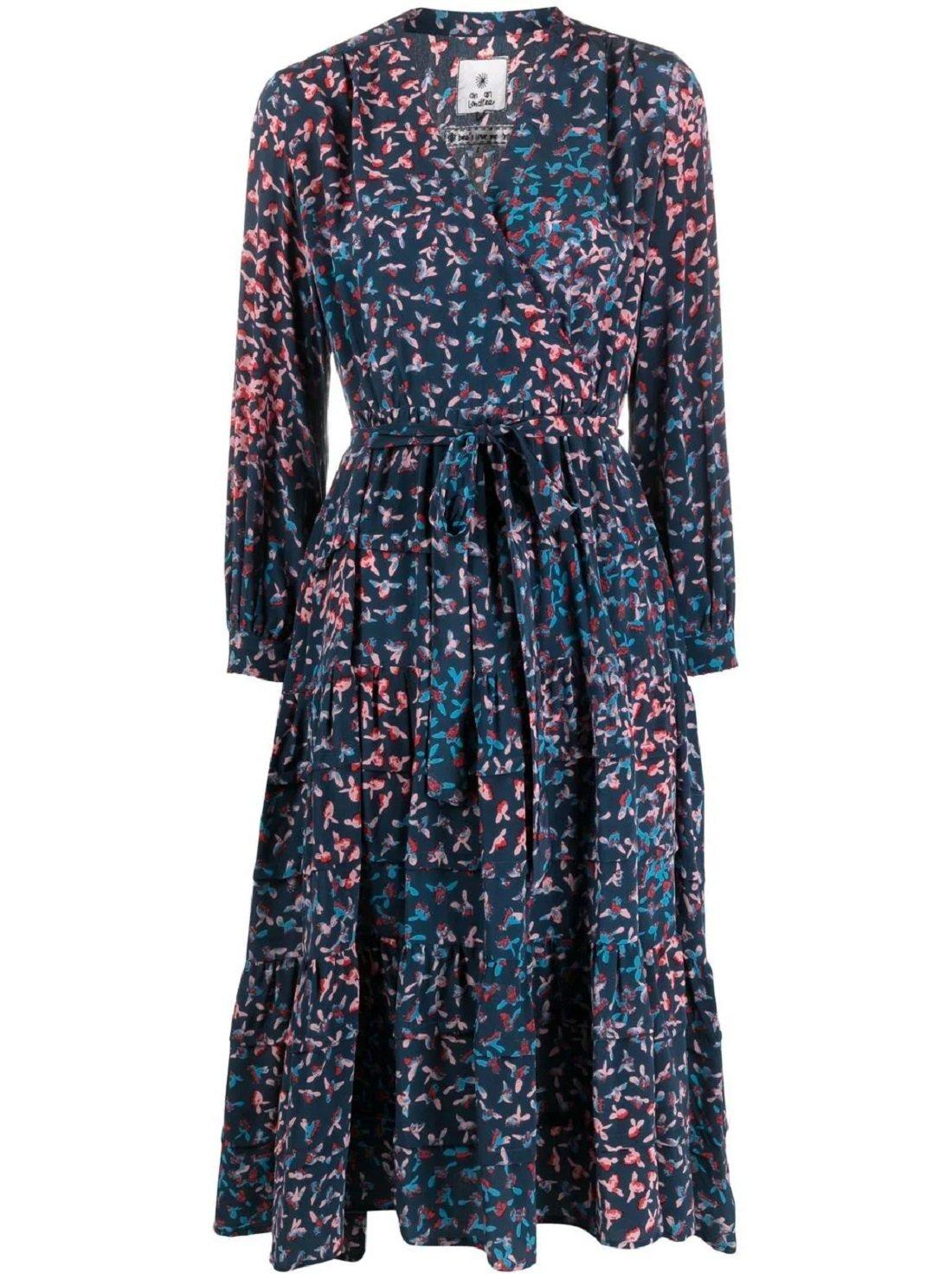Volant silk dress