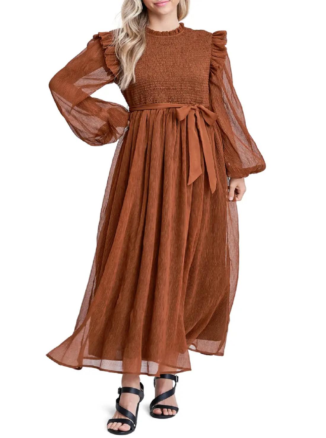 Wholesale Long Sleeved Chiffon Dress