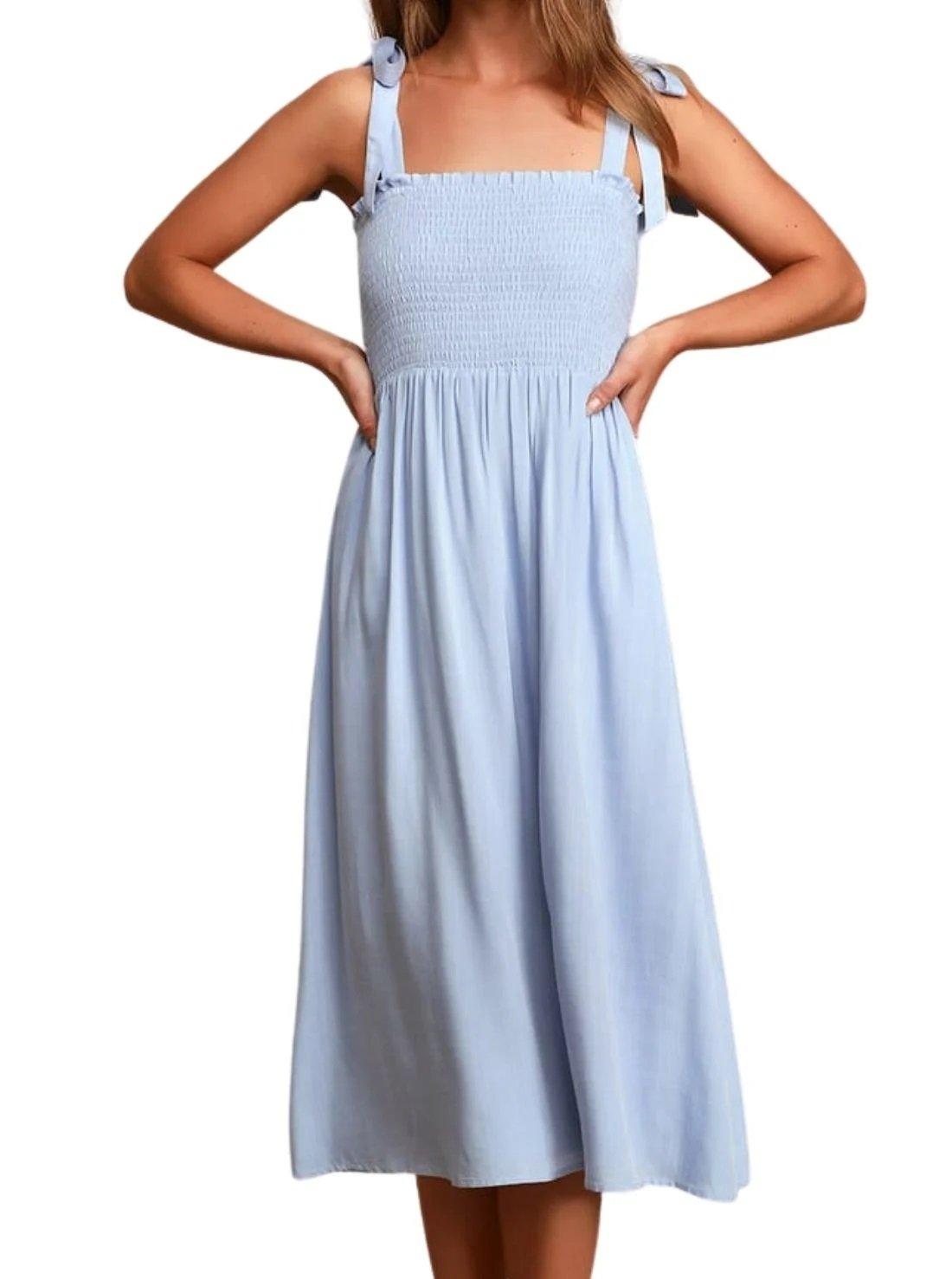 Light Blue Smocked Tie-Strap Summer Midi Dress