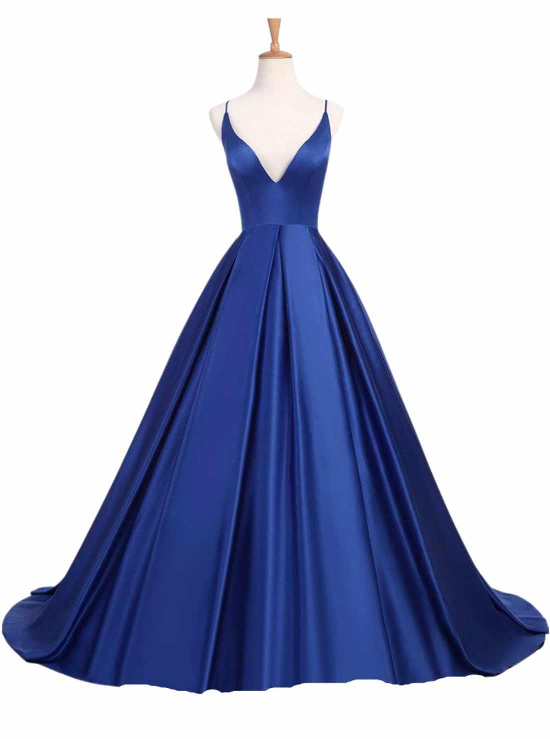 2021 Simple Royal Blue Prom Dresses Satin Spaghetti Burgundy Evening Gowns Cross Back