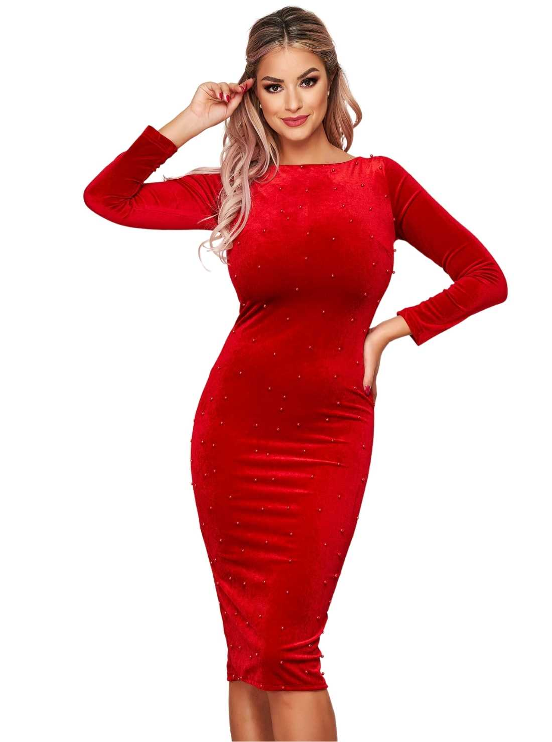 Red occasional midi from velvet dress with small beads