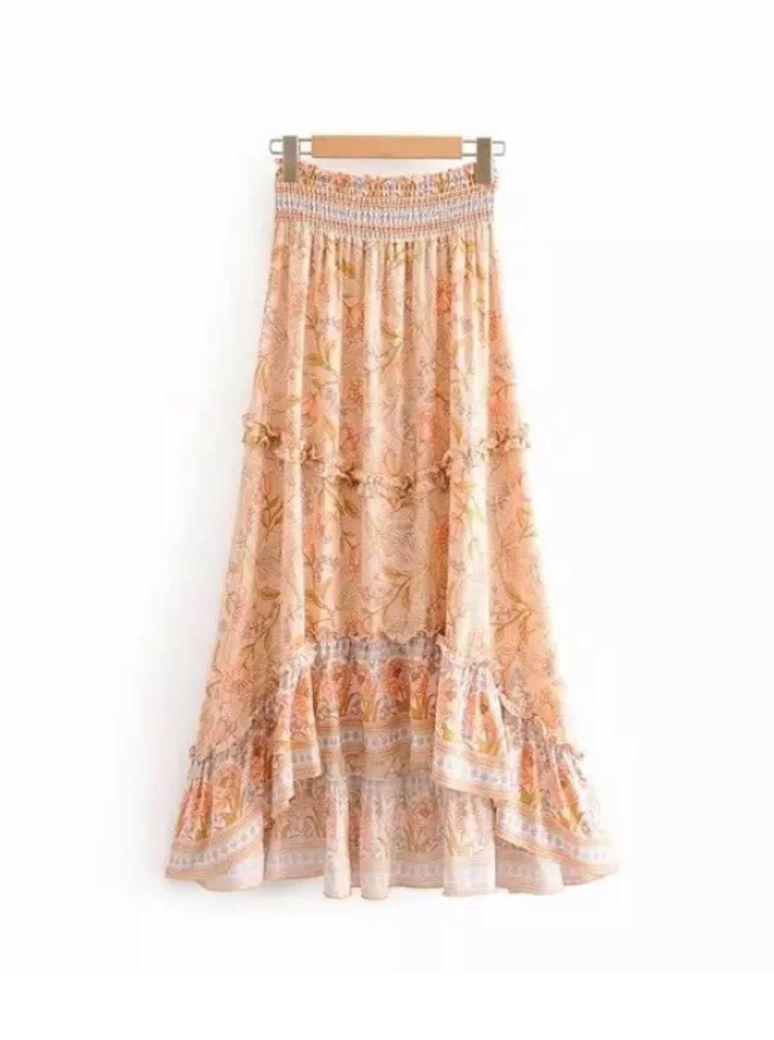 Vintage chic summer bohemian skirt