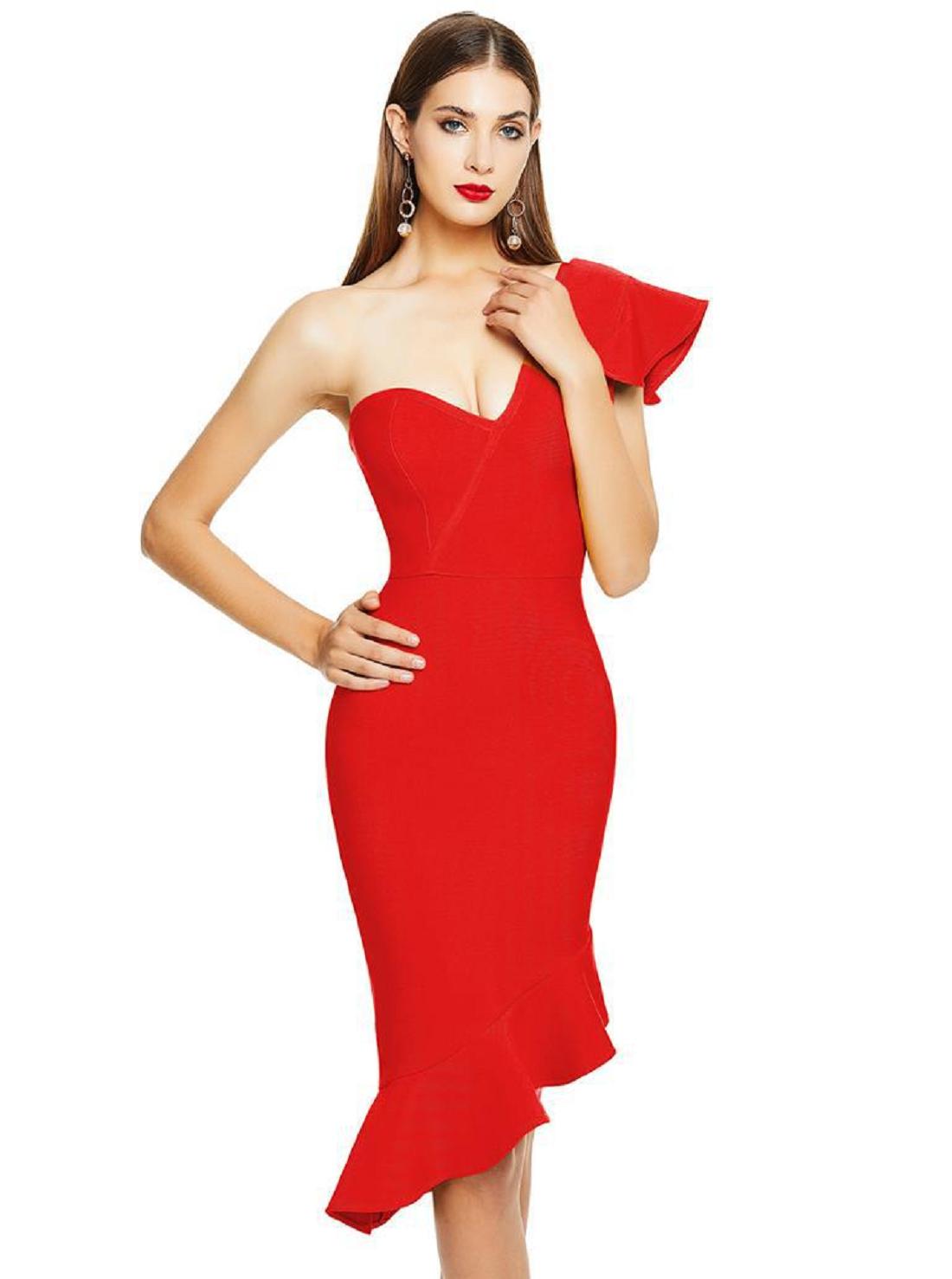 Wholesale One-shoulder Red Dress