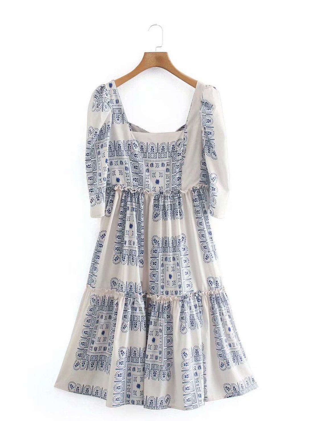 Floral Print Square Neck Dress