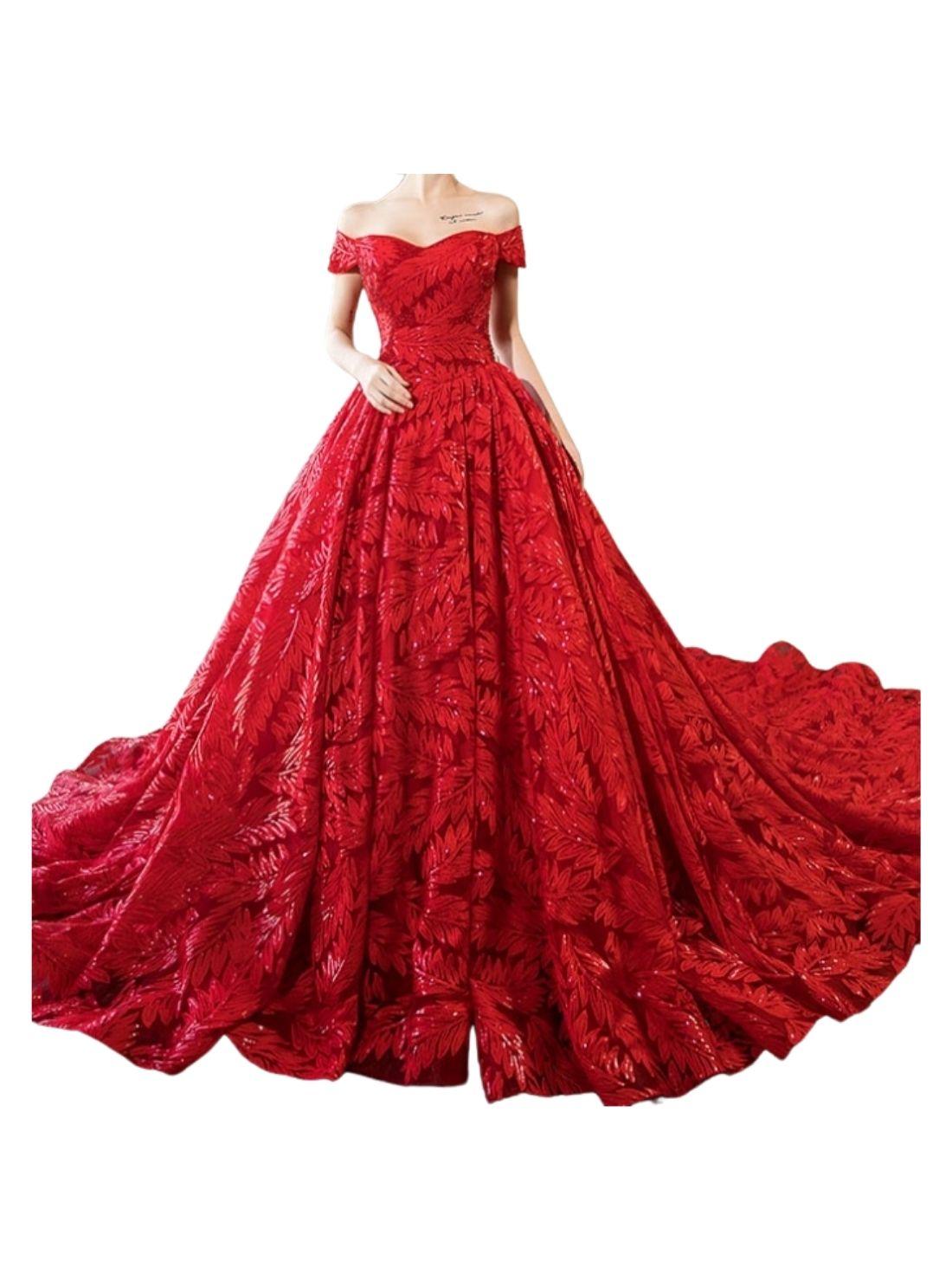 Red Lace Bridal Ball Dress China